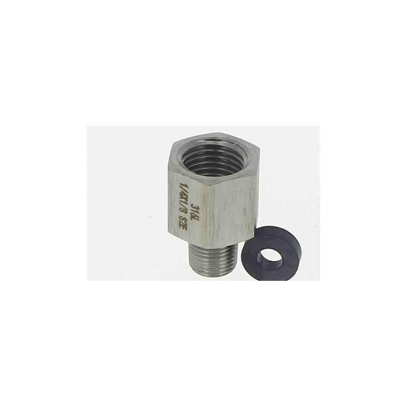 Adaptateur laiton pour mano 1/4F x 1/8 m- inox & joint