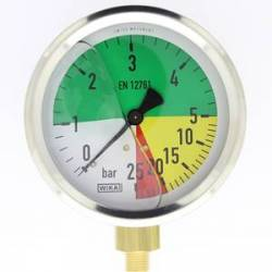 mano à échelle dilatée 100 mm 1/4 - fixation périphérique - 0-5/25 bar