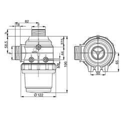 "Filtre aspiration Arag 314 - 1""1/2 M - 50 mesh bleu"