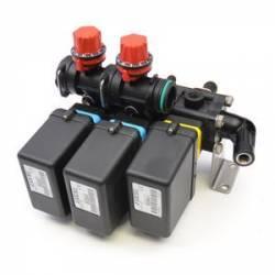 Bloc de 3 vannes electrique 3 voies + vanne de régulation