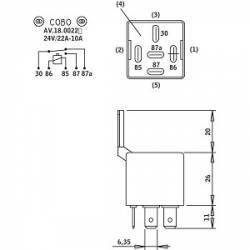 Mini relais COBO 12V à diode roue libre type 30 85 86 87 87a