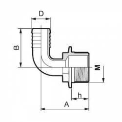"Raccord cannelé coudé 90°- Filetage M 3/4"" - Tubulure 13 mm"