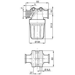"Filtre de tronçon Arag 324-0T - 1/2"" F - bol transparent 80 mesh jaune"