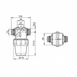 Filtre de tronçon Arag 322-2 - T3 M - 100 mesh vert